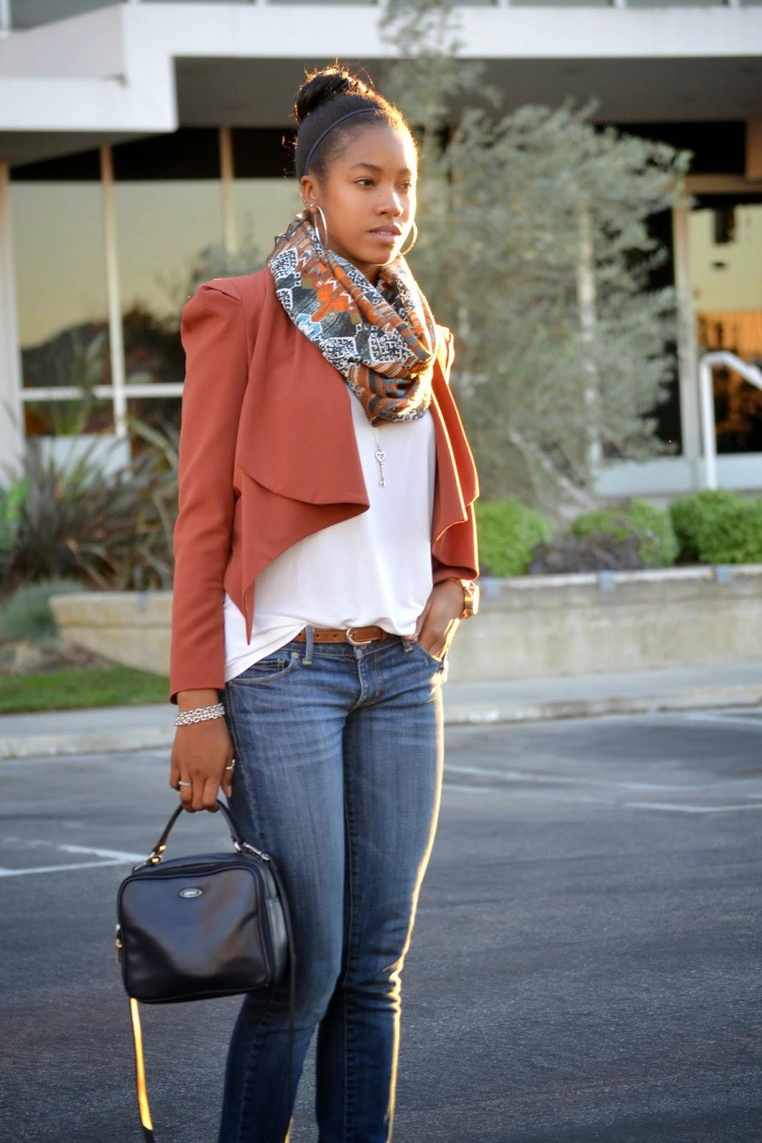 Wearing HM printed scarf Primark blazer Esprit bag