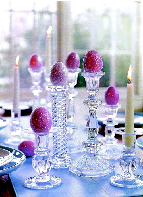 glitter Easter eggs on crystal candle sticks