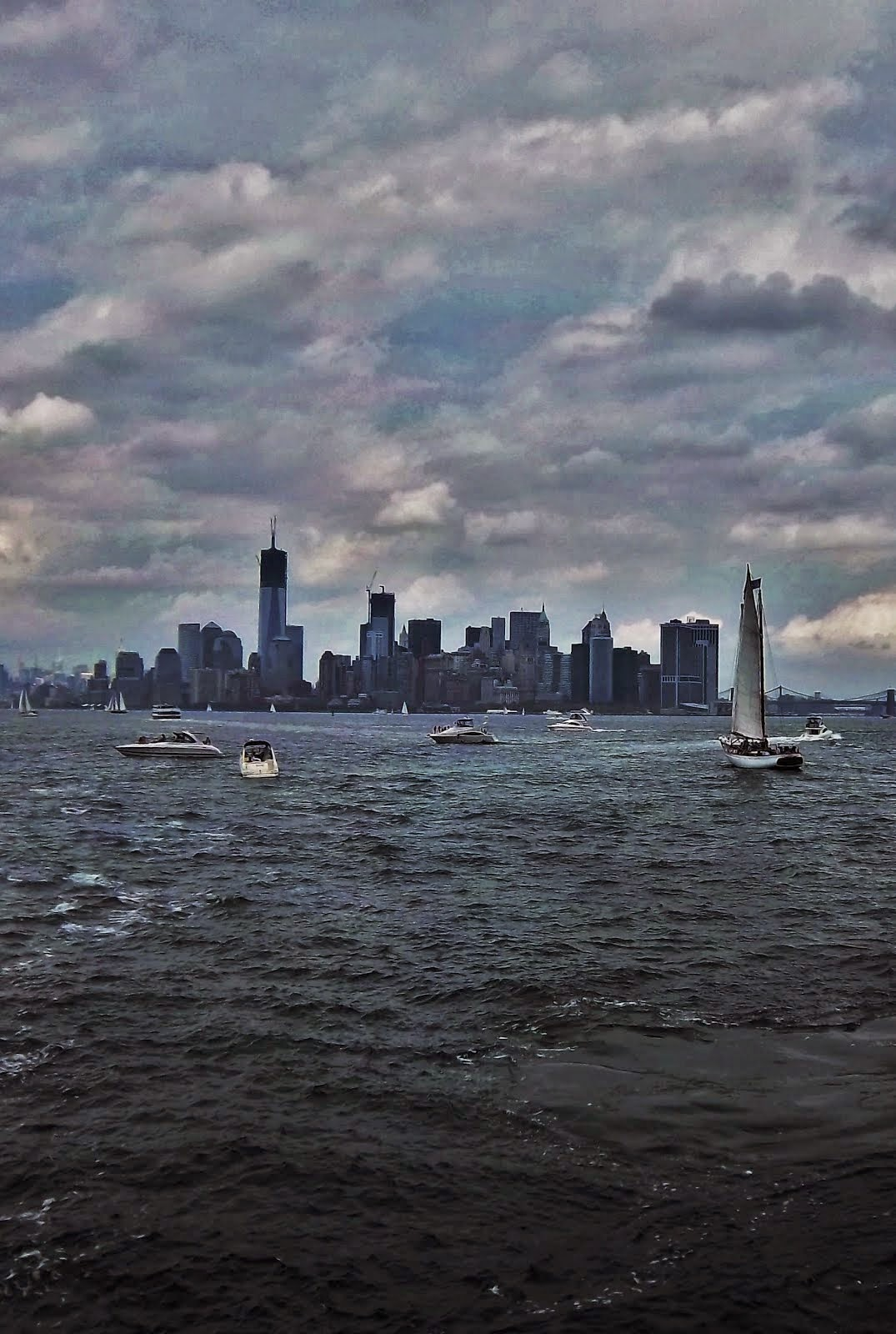 Sailing into New York harbour