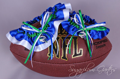 Custom Seattle Seahawks Wedding Garter Set by Sugarplum Garters