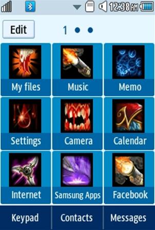 DOTA Crystal Maiden (Rylai) Samsung Corby 2 Theme Menu