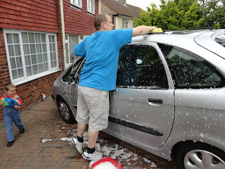 Daddy Washing The Car