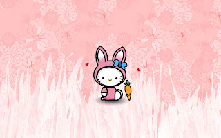 Hello Kitty cute Easter bunny desktop wallpaper background 1920x1200