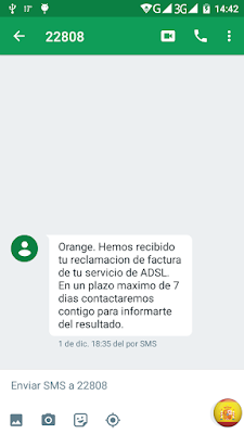 Reclamación cursada en Orange
