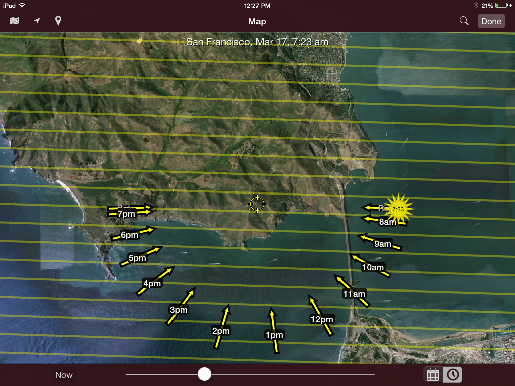 Screen shot from my iPad of the SunSeeker App showing my location and sun direction on the morning of March 17, 2015, as I was attempting to photograph sunrise. One of the nice things about this App is that you can pick a day and time in the future so that there are no surprises, except maybe rain and fog.