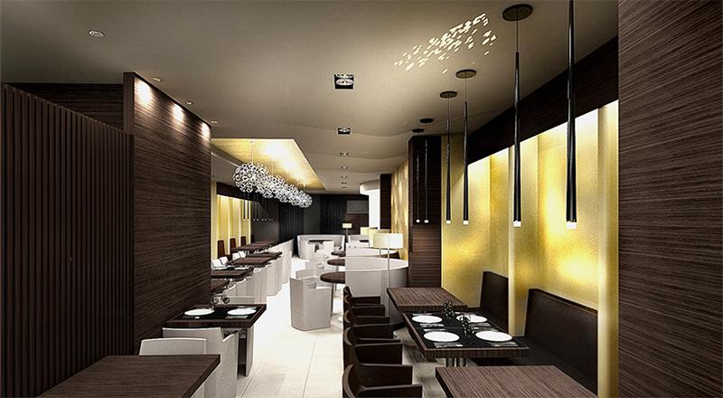 Restaurant View 01. The Golden Club Restaurant & Dance design by Somerset Harris