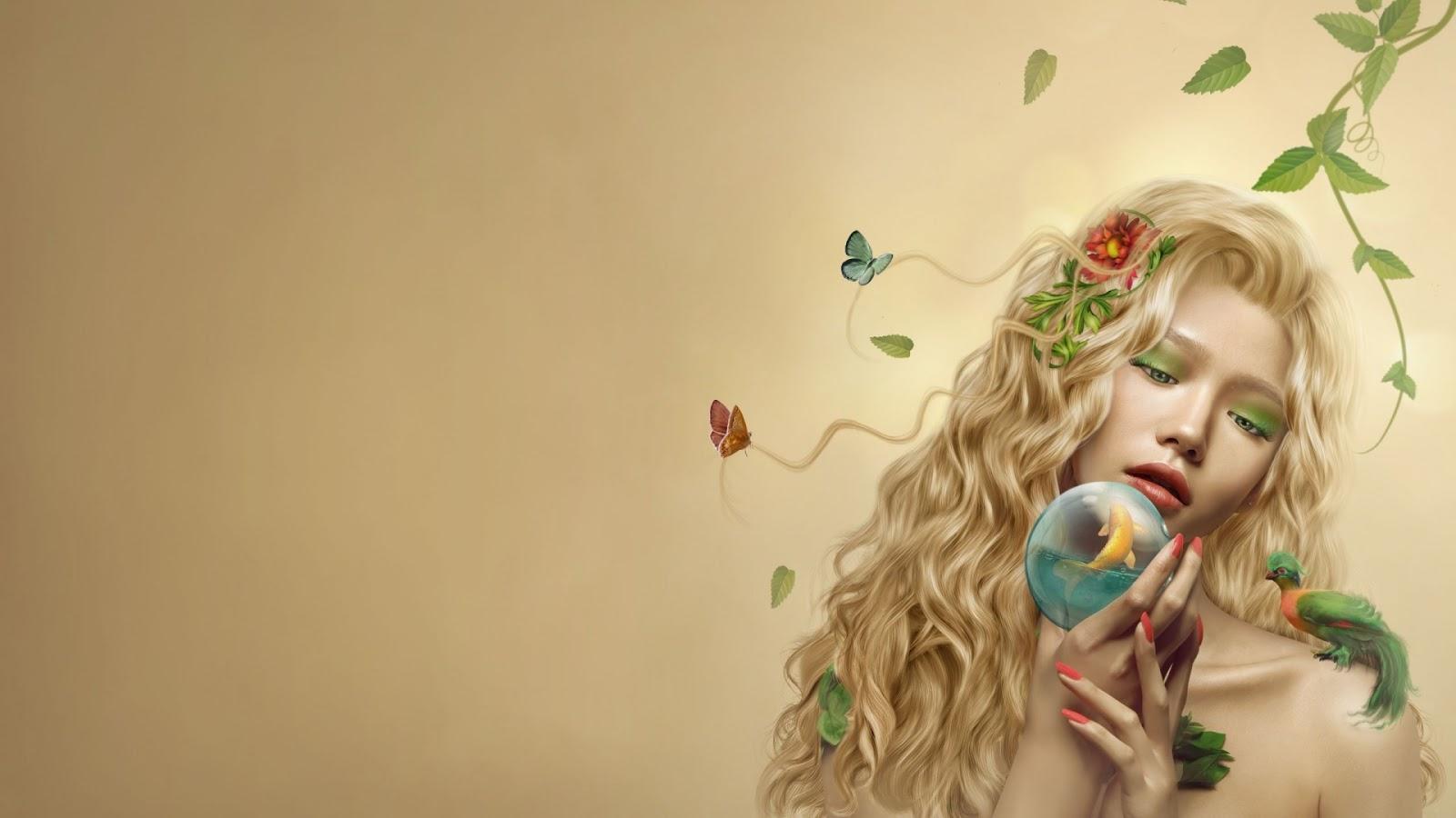 nature girl art mystery wallpaper