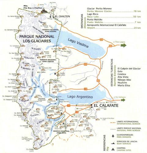 Mapa do Parque Nacional Los Glaciares - Patagônia Argentina