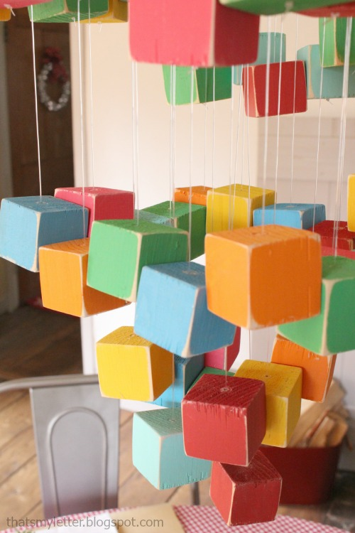 diy wood block chandelier kids party decor
