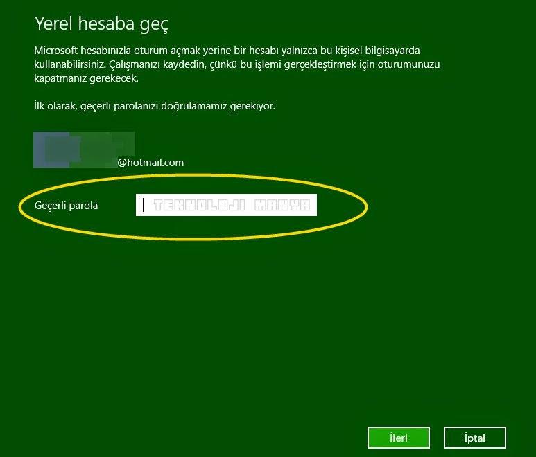 Windows 8.1 Microsoft Hesap Silme