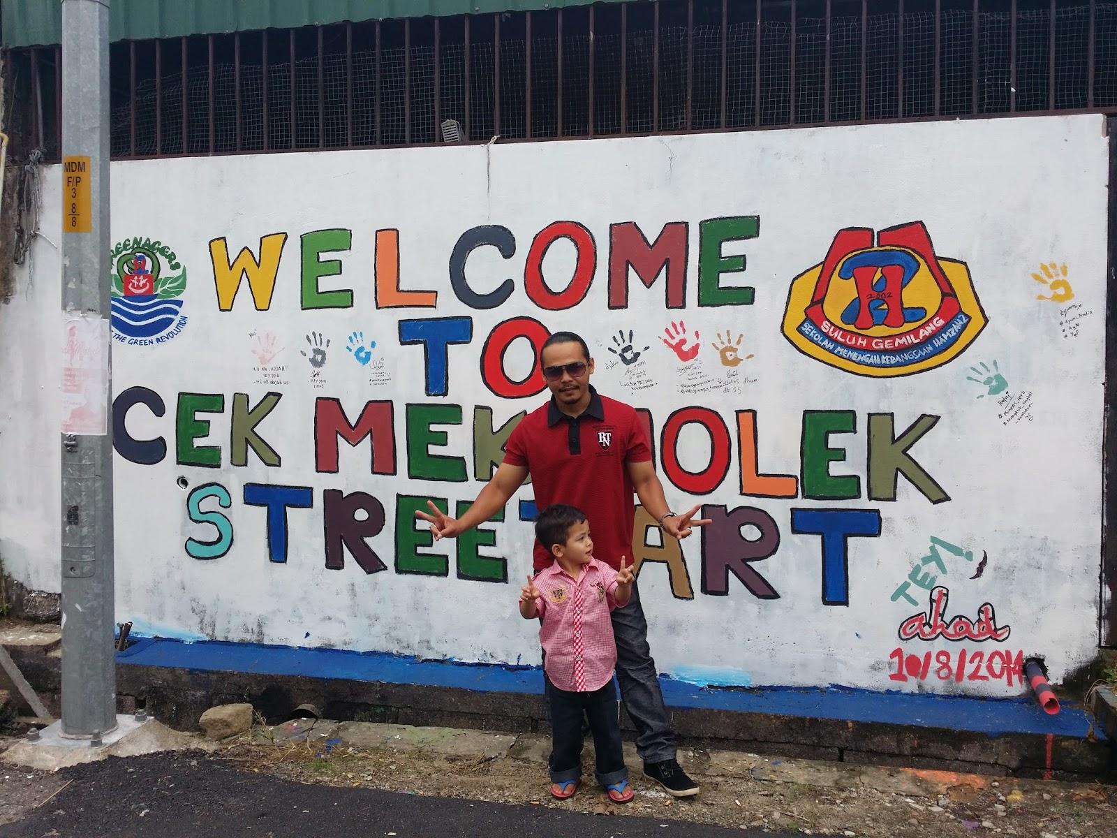 cek mek molek, cek mek molek street, lorong cek mek molek, lukisan dinding di machang, lukisan mural di macahang, tempat menarik di kelantan,