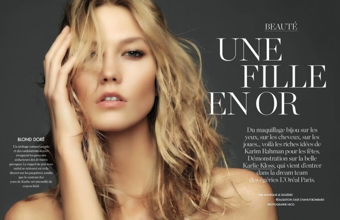 Karlie Kloss poses for the Elle France December 2014 edition