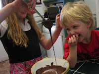 children baking cakes chocolate