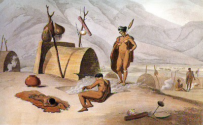 Khoisan busy barbecuing grasshoppers. 1805. Aqua tint by Samuel Daniell [Credit: Wiki Commons]