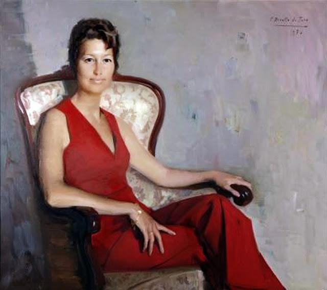 Félix Revello de Toro,  Retrato de Mujer con Traje rojo, Retratos Institucionales, Retrato Institucional, Retratista Institucional, Galería de Retratos Institucionales