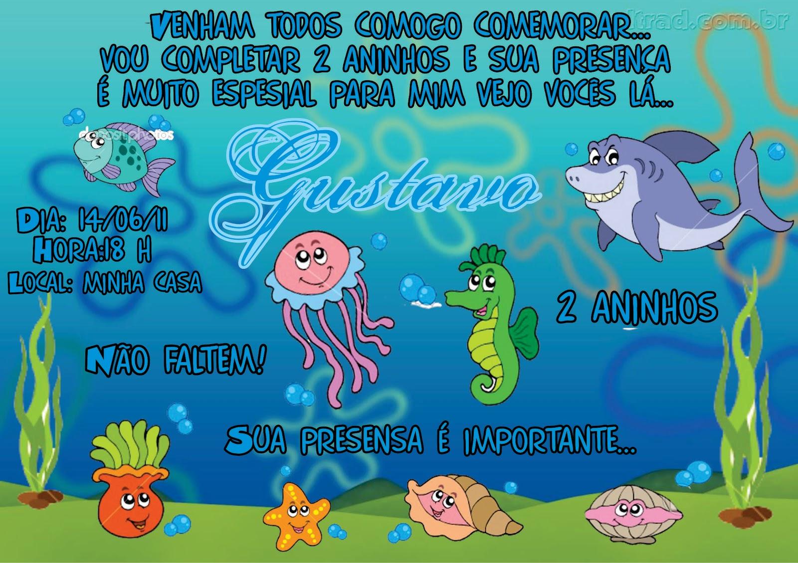 Convite Fundo Do Mar Arte Muito Legal