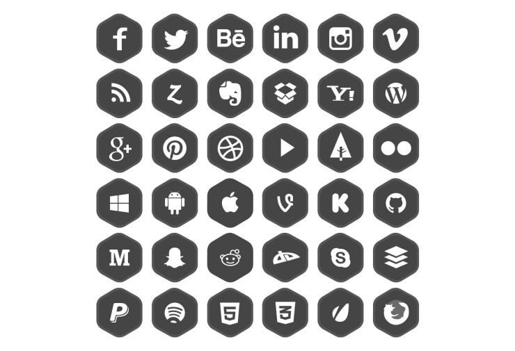 iconos de redes sociales en cuatro estilos gratis