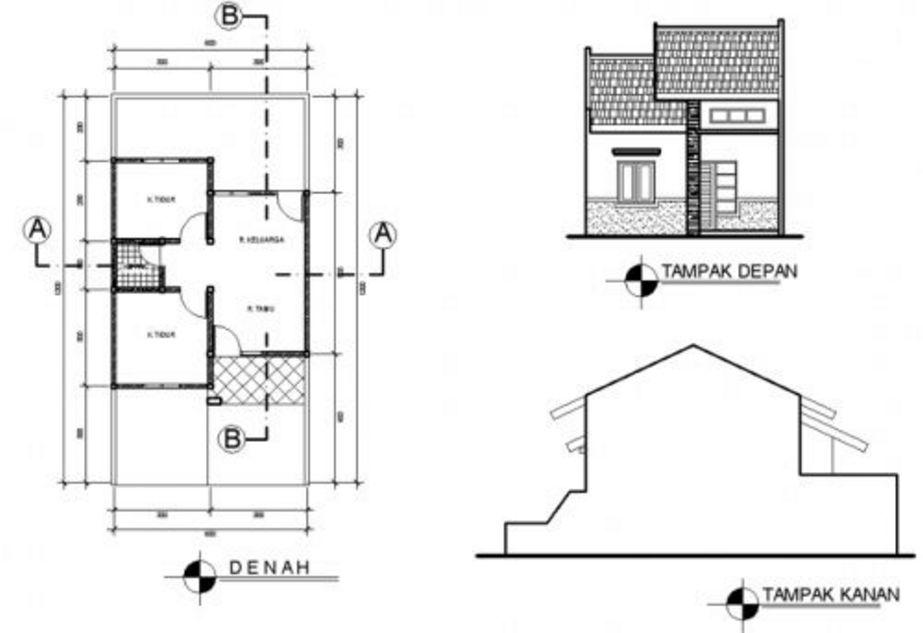 contoh denah rumah minimalis type 36 72 menarik