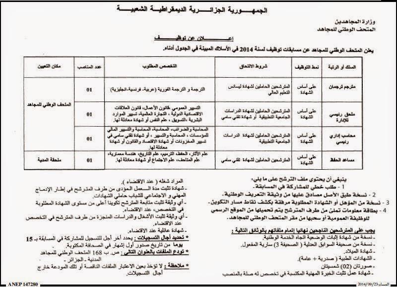 مسابقات توظيف في المتحف الوطني للمجاهد بالجزائر العاصمة