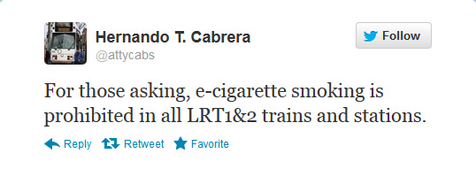 e-cigarette users not excuse in LRT's no-smoking policy