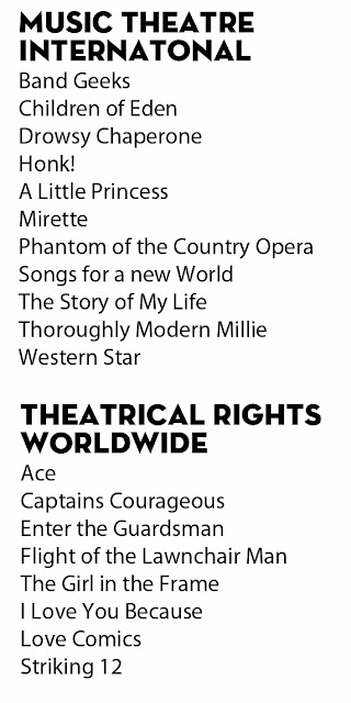 MTI: Band Geeks!, Children of Eden, The Drowsy Chaperone, Honk!, A Little Princess, Mirette, Phantom of the Country Opera, Songs for a New World, The Story of My life, Thoroughly Modern Millie, Western Star. TRW: Ace, Captain Courageous, Enter the Guardsman, Flight of the Lawnchair Man, The Girl in the Frame, I Love You Because, Love Comics, Striking 12