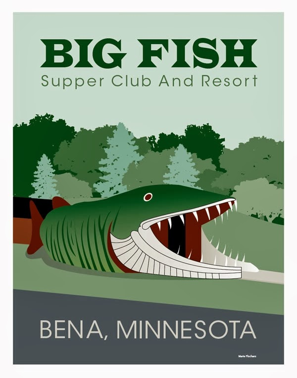 Big Fish Supper Club in Bena Minnesota - MN Roadside Attraction Travel Poster