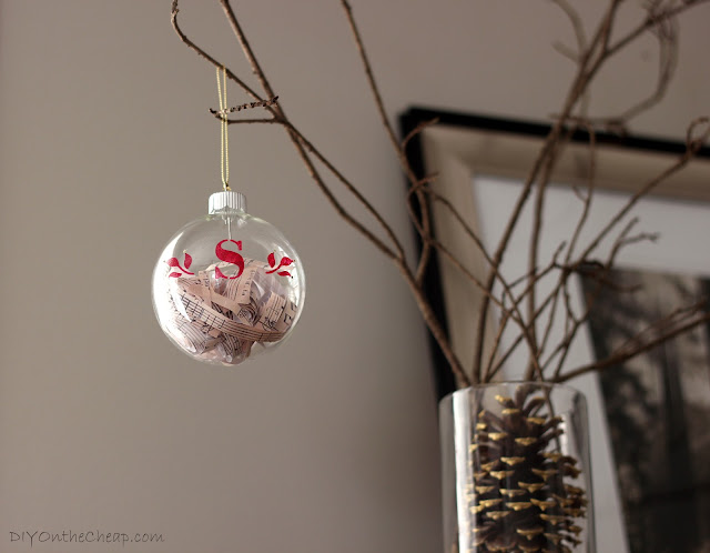 Monogrammed Glass Ornament {Filled with Sheet Music}