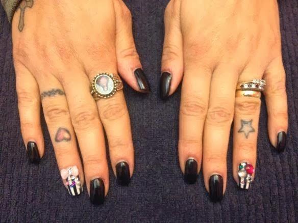 Clear tip acrylics with black blue custom gel color polish for Acrylic toenails salon