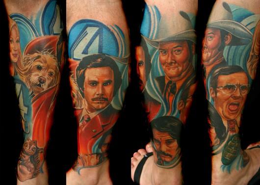 filmes, tatuagens, imagens, cinema, o ancora a lenda de ron burgundy, 25 tatuagens baseadas em filmes, arte corporal cinematográfica, eu adoro morar na internet