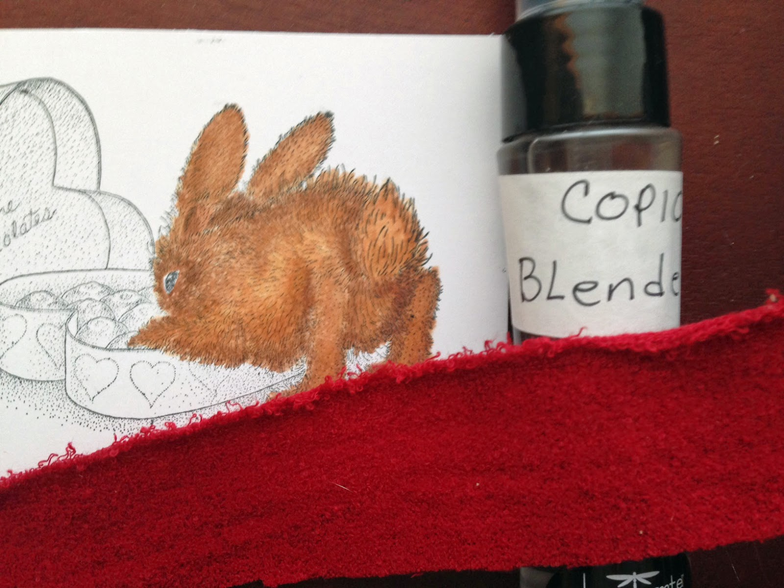 Used the blending solution and fabric to add texture to the bunny.