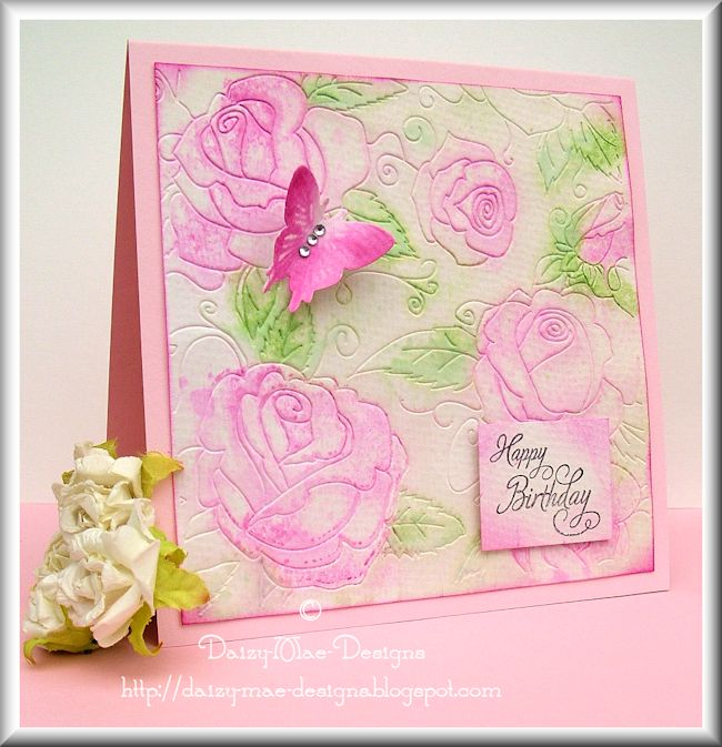 roses, pink, embossing, watercolour, butterfly