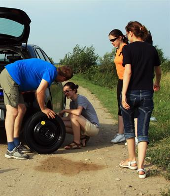 Teenagers changing a flat tire