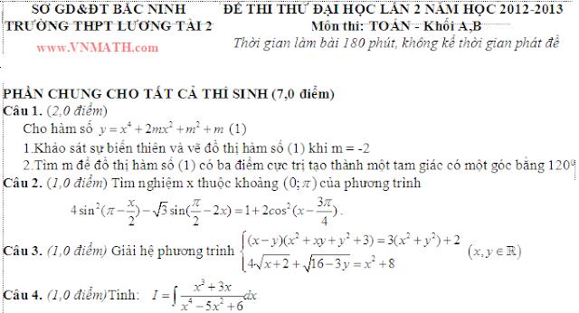 Đề thi thử 2013 môn Toán của THPT Lương Tài 2 Bắc Ninh