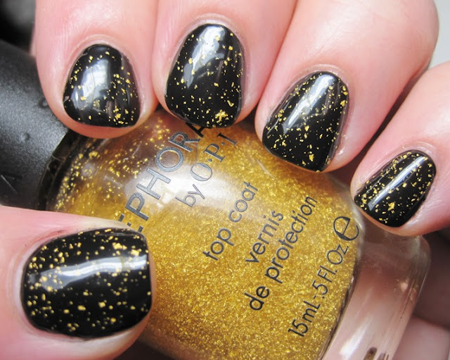 OPI Black Onyx with SOPI 18k gold topcoat
