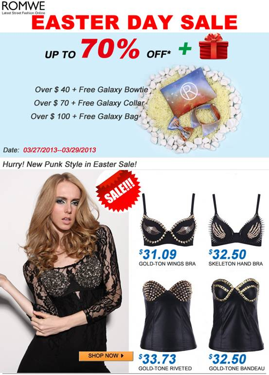 Romwe Exclusive Galaxy Souvenirs and upto 70% off for you this easter