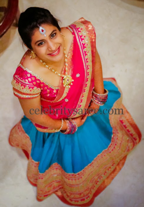 Bride in Blue Half Saree