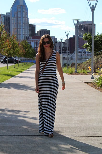 maxi dress, black and white striped maxi dress, stripes, nashville blogger, nashville, batman building, leather crossbody, camel leather purse, festival purse