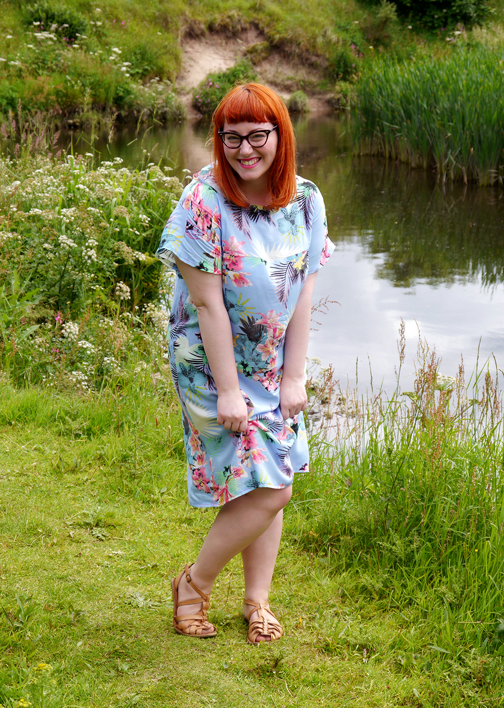 summer style, tropical style, beach style, DIY dress, dressmaking, Styled by Helen: Tropical, red head, ginger, Topshop sandals, pink blazer, Tom Pigeon earrings, Scottish blogger