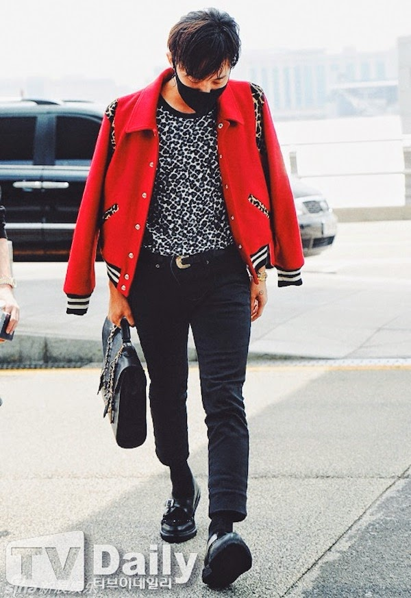 G-Dragon from BigBang in Saint Laurent by Hedi Slimane Fall Winter 2014 LEOPARD PONYSKIN WOOL BOMBER JACKET #PFW