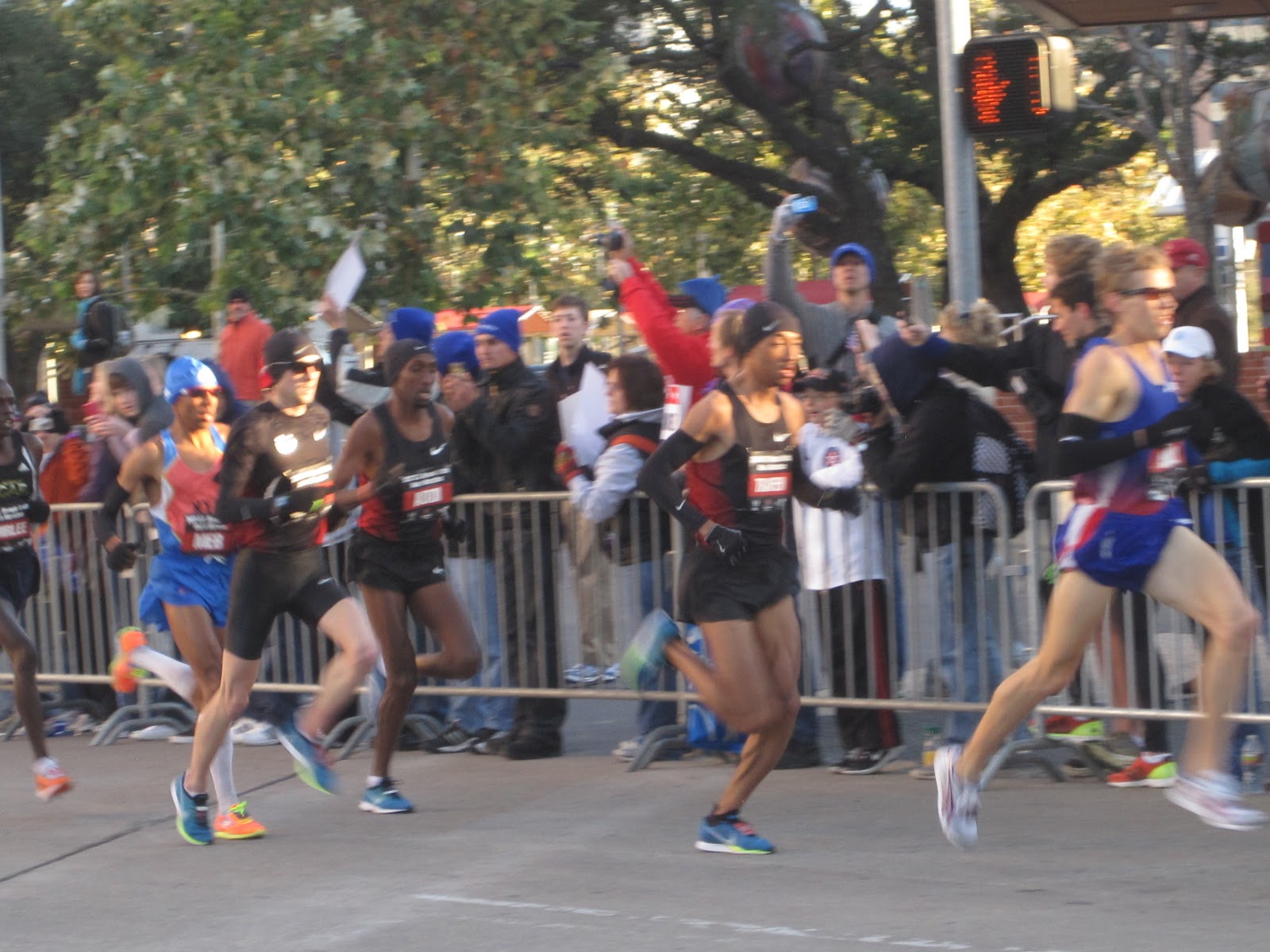 ... surges through mile two: Hall, Trafeh, Abdi, Ritz, Meb and Chirlee
