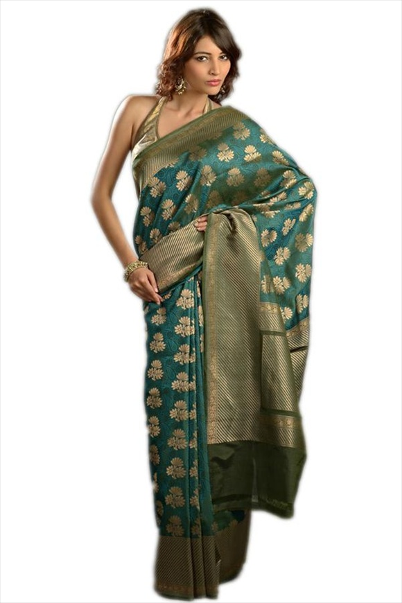 Tropical Green Georgette Banarasi Saree