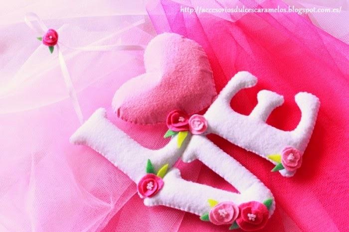 Letras LOVE fieltro para bodas bautizo comuniones