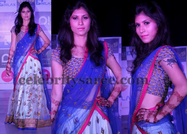 Model in Latest Glitter Half Sari