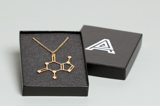 Aroha Silhouettes Gold Plated Chocolate Theobromine Molecule Necklace