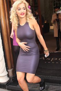 Rita Ora Tight Latex Minidress