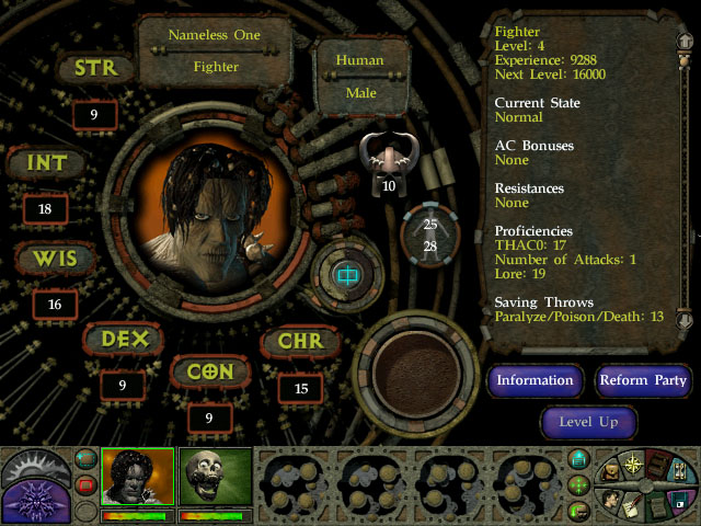Planescape Torment character information screen