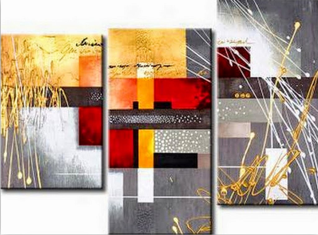 Cuadros modernos tripticos modernos abstractos oleos for Cuadros de oleo modernos