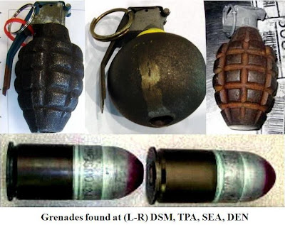 Inert grenades were discovered at DSM, SEA, TPA, and BNA.
