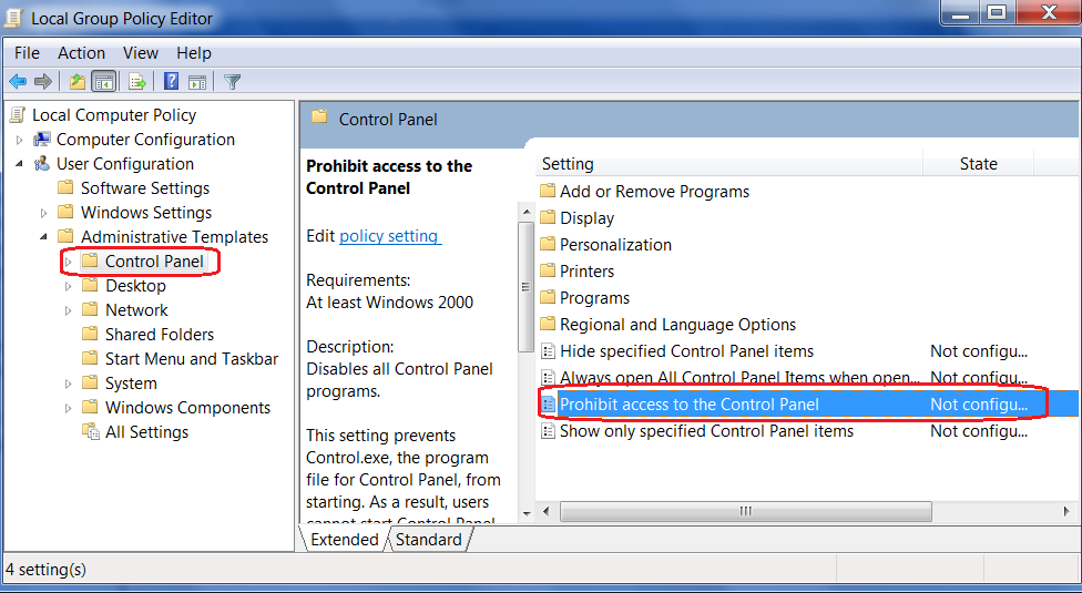 How to Disable Control Panel Option in Window 7 Via Group policy ...