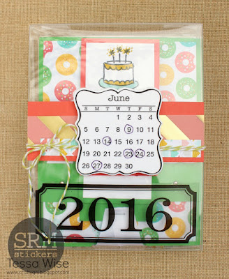 SRM Stickers Blog - A 2016 Birthday Calendar Organizer by Tessa Wise - #minicalendar #2016 #floralbags #stickers #twine #die #DIY